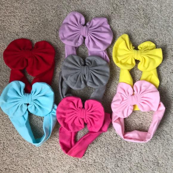 69ad3ee18 Accessories   Set Of 7 Soft Baby Headband Bows   Poshmark